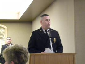 New Fire Chief Robert Wahrenbrock with remarks.