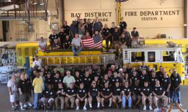Group shot of past and present members. Man could we put some equipment on the street with this crew.