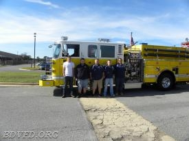 Crew from station 3 with Engine 32 Zakary Werkheiser, Kyle Woodburn, Brice Trossbach, James Driscoll, Corey Graves.