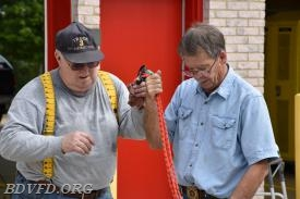The Great Water Buffalo (Keith Fairfax) and Coastie (Steve Wurtz) going over some fine points. So good to see Steve back at the station.